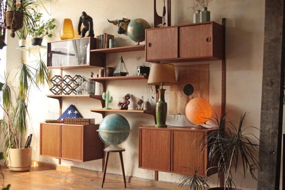 H G Furniture Denmark Teak Wall Unit Cado System Modular Shelves - love the globes and plants