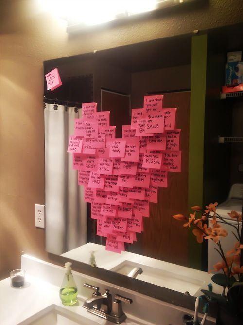 diy gratuit post it idée cadeau saint valentin miroir salle de bain, surprise…