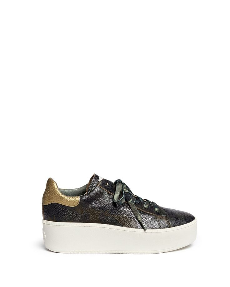 Ash | Green 'cult' Camouflage Print Leather Platform Sneakers | Lyst