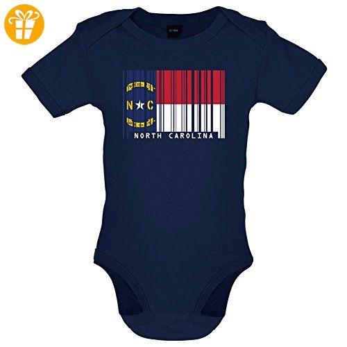 North Carolina / Nord-Carolina Barcode Flagge - Lustiger Baby-Body - Marineblau - 6 bis 12 Monate (*Partner-Link)