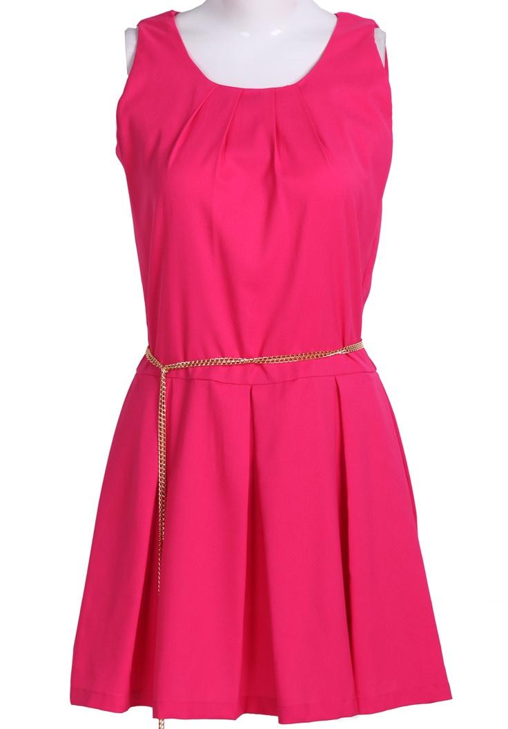 #SheInside Red Sleeveless Back Zipper Pleated Chain Dress - Sheinside.com