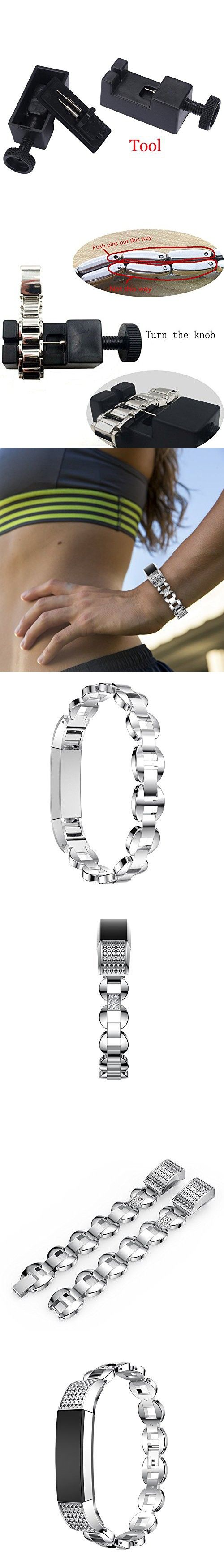 Newest Premium Replacement Accessory Metal Watch Bands Bracelet Strap for Fitbit Alta HR and Alta(No Tracker) (Style E: Silver)
