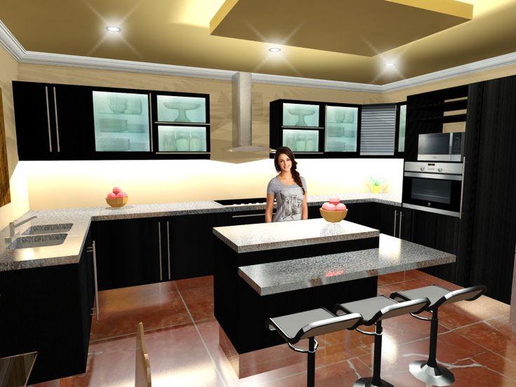 Diseño de Cocina realizado en Autocad y renderizado mediante 3d Studio, terminado en photoshop.