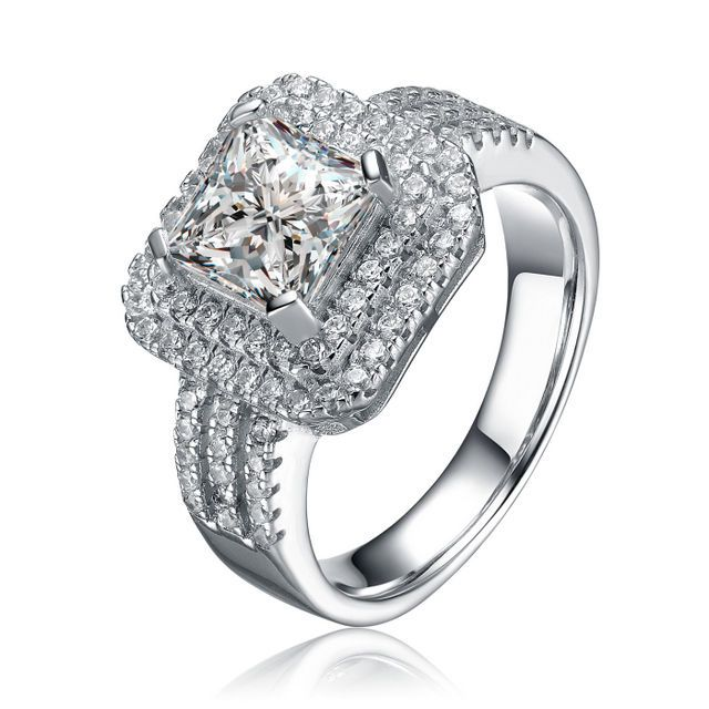 Women's Sterling Silver Princess Cut Cubic Zirconia Double Halo Engagement Ring #JRyanFineJewelry #Halo