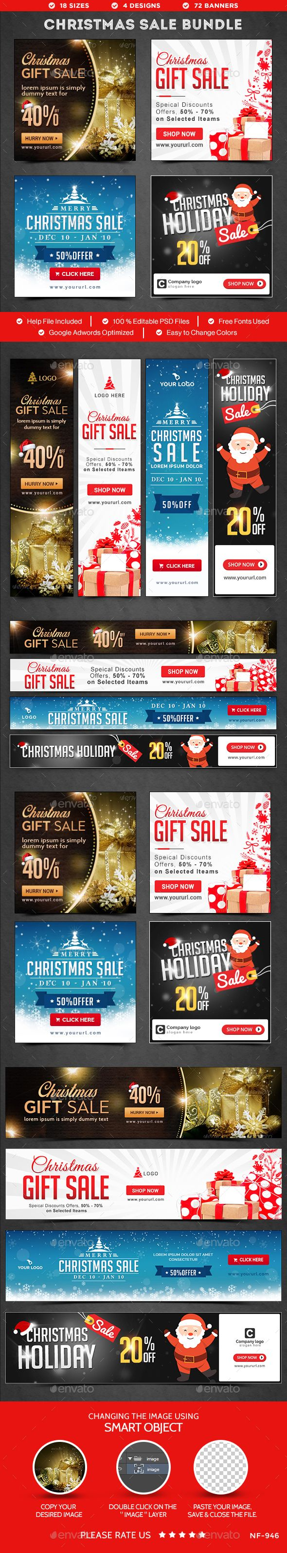 Christmas Sale Web Banners Bundle - 4 Sets Templates PSD #design Download: http://graphicriver.net/item/christmas-sale-banners-bundle-4-sets/14196546?ref=ksioks