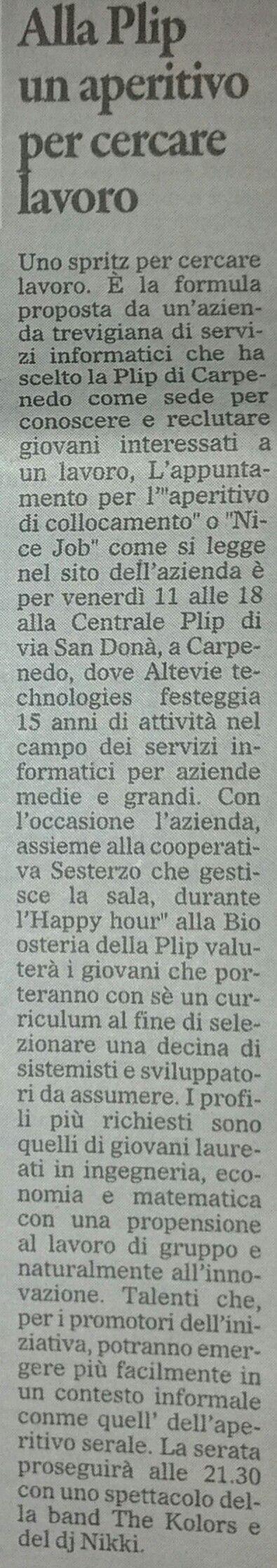 """NiceJob @ Altevie, l'articolo di presentazione de """"Il Gazzettino"""""""
