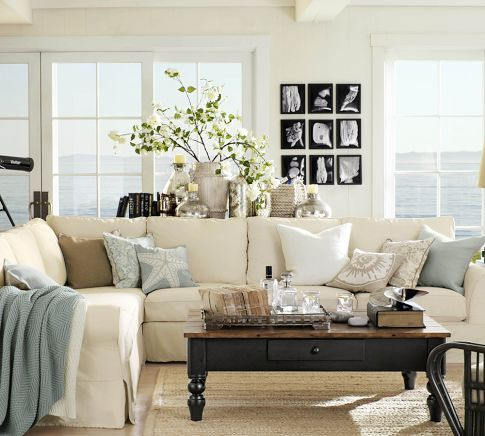 Pottery Barn Living Room Designs With Goodly Pb Comfort Square Slipcovered 3 Piece L Shaped Sectional Best Style