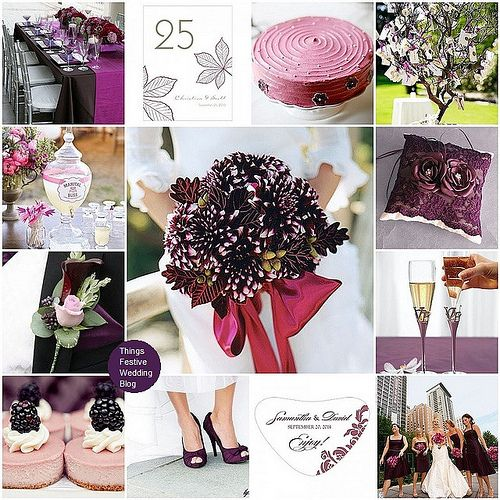 Fall wedding color palette in raspberry and aubergine (eggplant)