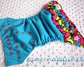 One-size-fits-most cloth nappy- Peace Stars