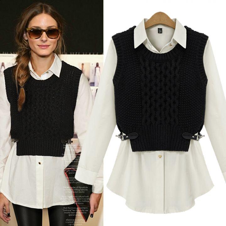 Pics for womens black sweater vest for Black sweater white shirt