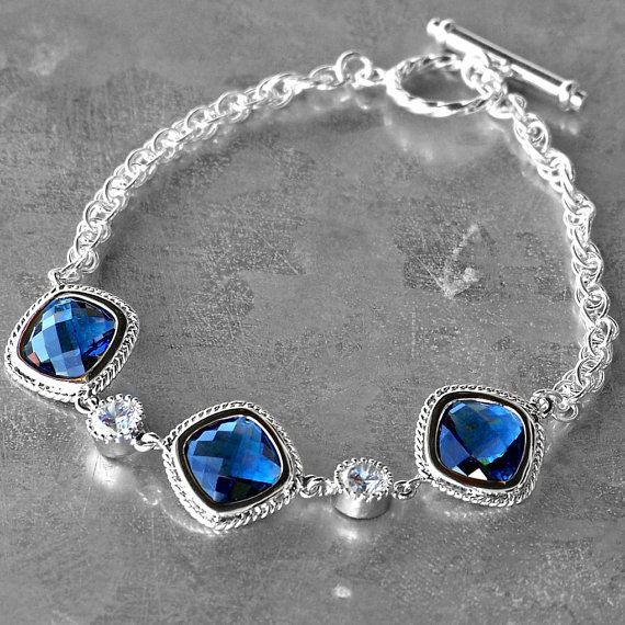 Faceted Sapphire Blue Crystal and Silver by CJRoseBoutique on Etsy, $48.00