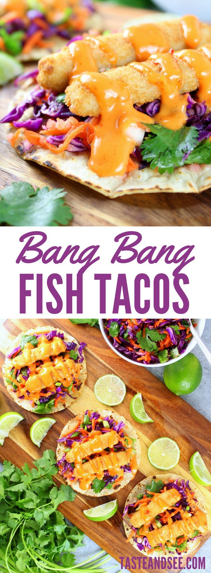 Bang Bang Fish Tacos – a delicious well-balanced meal! With lightly toasted corn tortillas, citrusy cabbage slaw, fish sticks, & yummy Bang Bang sauce! | Mexican Food | #Taco | Seafood | 30-Minute Meal | http://tasteandsee.com