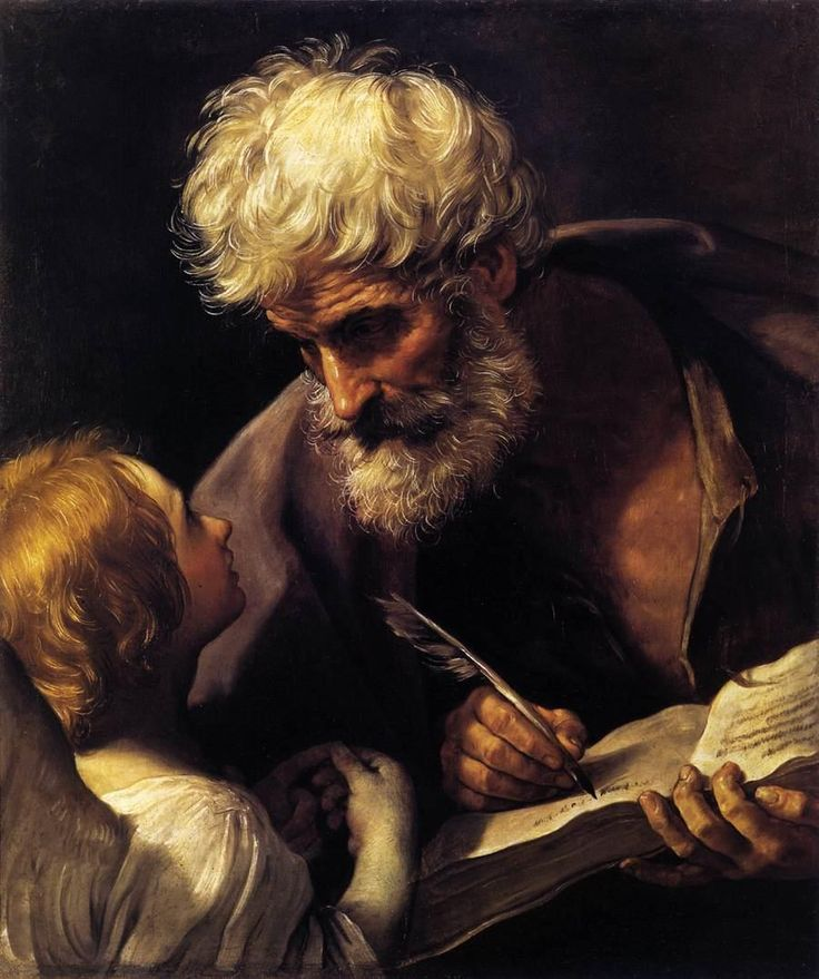 Guido Reni (1575 - 1642), St Mathew and the Angel, 1640, Oil on canvas, 85 x 68 cm, Pinacoteca, Vatican - Baroque Movement.  Many of Reni's best known works were painted in Rome but he returned to Bologna, his home town, where he ran a busy studio engaged on commissions from many Italian cities.