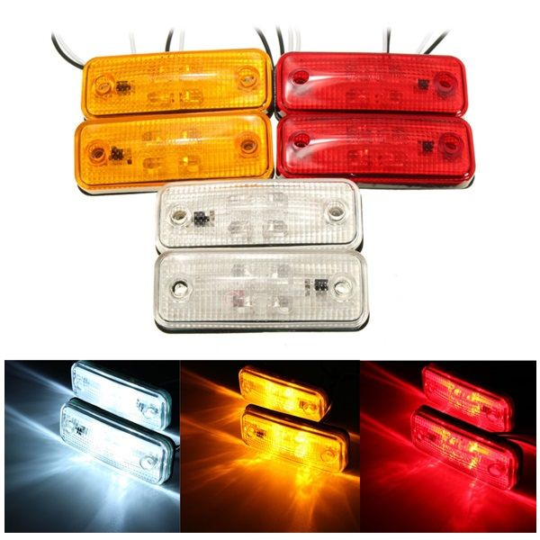 6x Led Amber Side Marker Lights Indicator Trailer Truck With Brackets E Marked