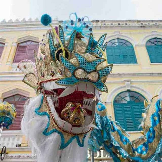 Lion and Dragon Parade in Macao