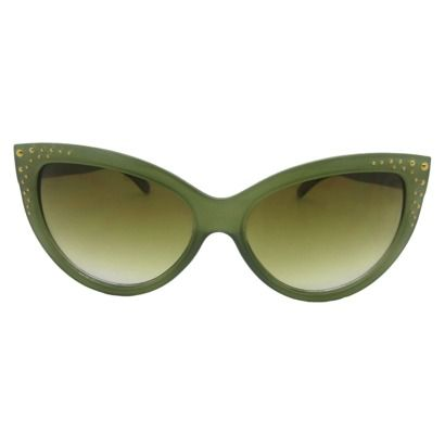 Cateye Olive Green Sunglasses with Metal Grommets - for Greaser/Rockabilly Poison Ivy