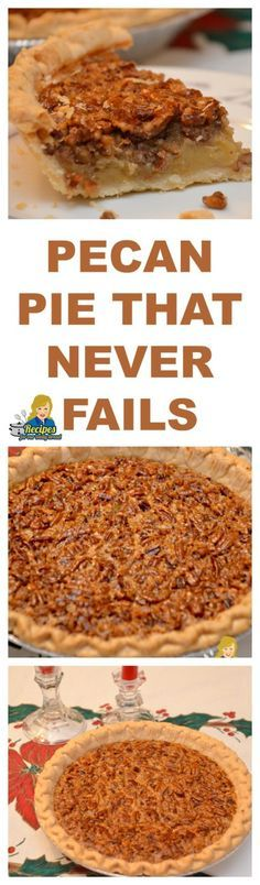 This recipe is a classic Southern Pecan Pie. It is made with simple ingredients including sugar, corn syrup, butter, eggs and pecans.