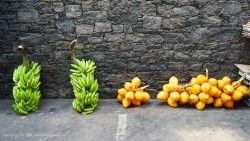 king coconuts and freshly cut bananas