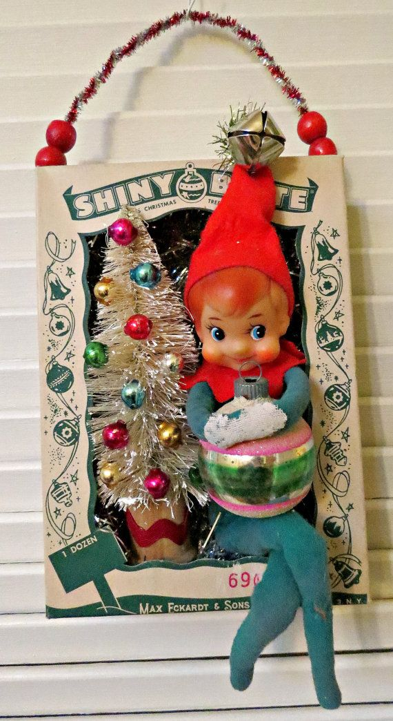 Vintage Ornament Box with Shiny and Brite by dimestorechic on Etsy