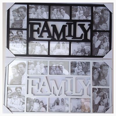 Large Family Photo Frame 10 Multi Aperture Frame - Black Or White
