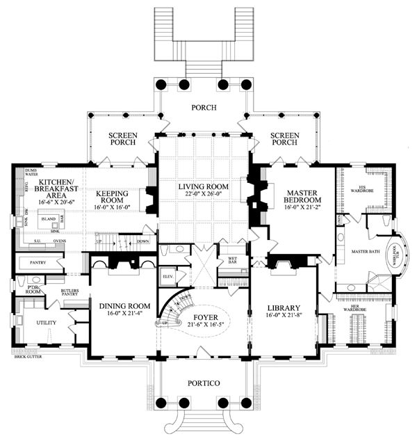 First Floor Plan of Colonial   Southern   House Plan 86337 Wow! love the kitchen area and the master bedroom and the wardobes...