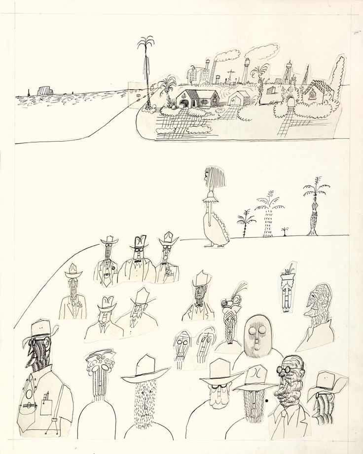 Untitled [Florida Types], 1952. Ink and collage on paper, 30 x 24 in. The Art Institute of Chicago; Gift of The Saul Steinberg Foundation.