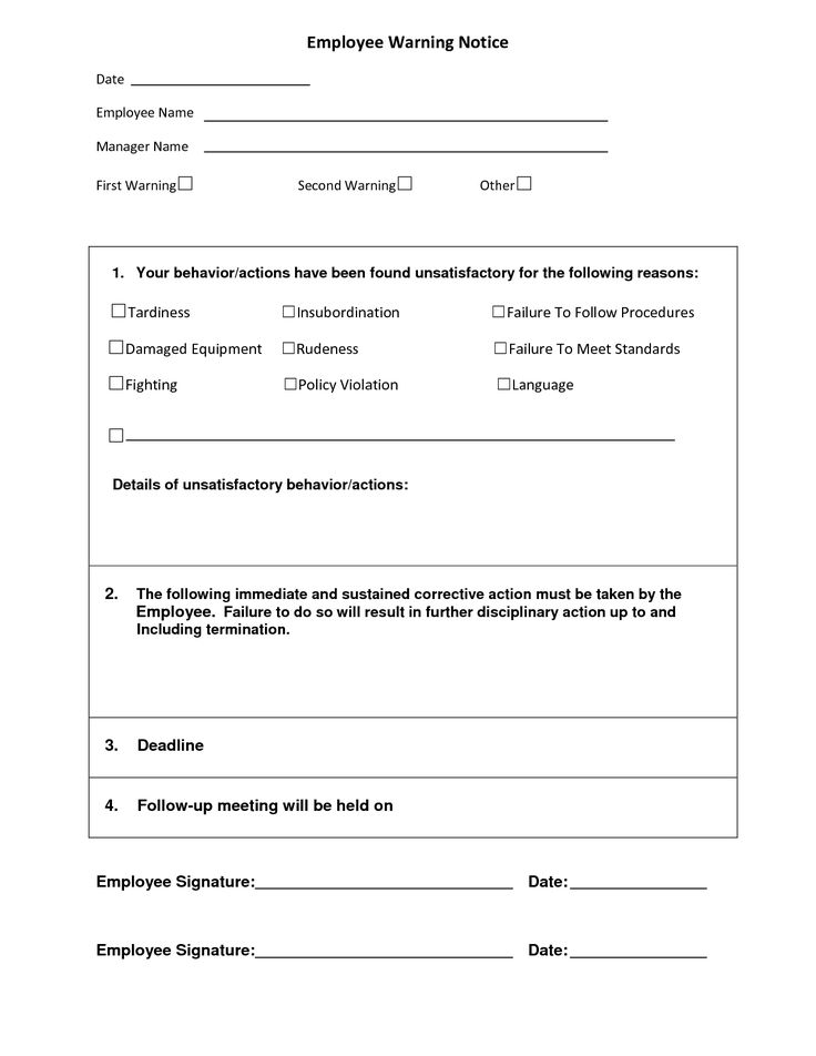Employee Warning Form Form  Employee Warning Notice Sample