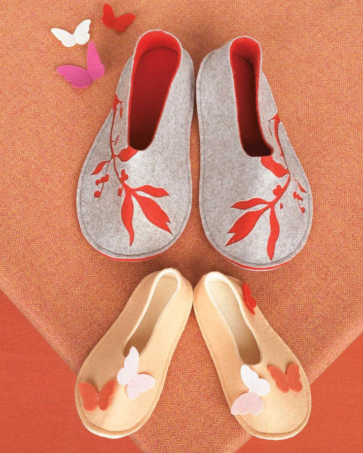 The templates for these felt branch and butterfly slippers can be adjusted to fit different shoe sizes.