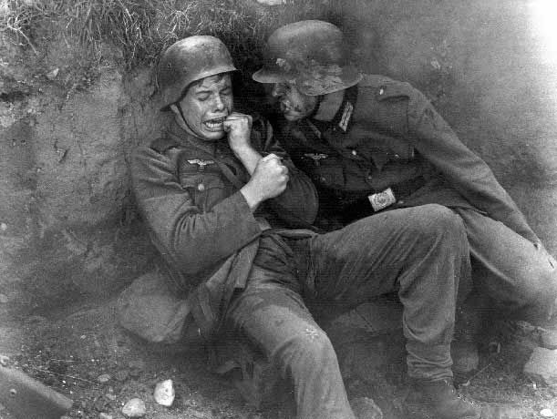 Towards the end of WWII, the Germans were sending boys between the ages of 14 and 17 into the field. This photo, taken at the end of the war shows a young boy terrified by the sounds of battle. He even wet his pants, poor kid.