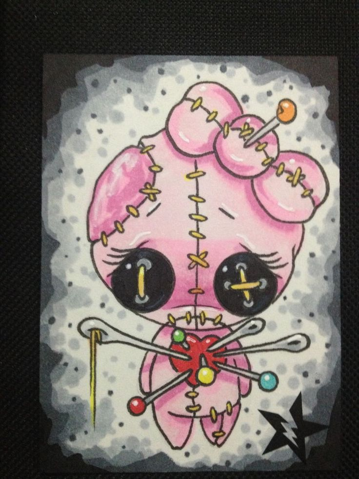 SUGAR FUELED VOODOO GIRL DOLL CUTE BIG EYE ORIGINAL CUSTOM ACEO SKETCH CARD