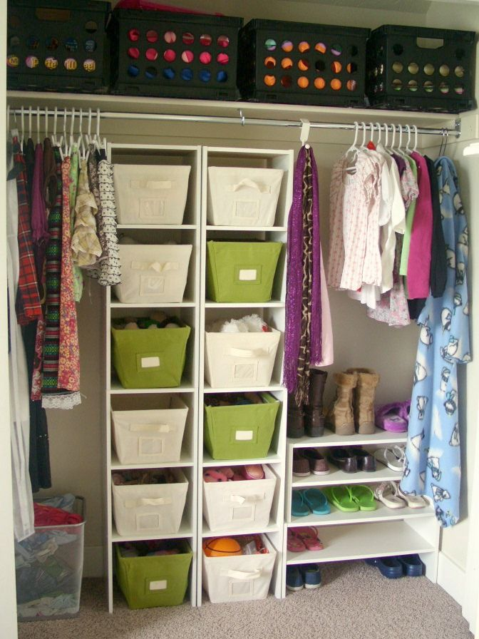 Closet Storage Idea. I like how simple it is but keeps everything super organized