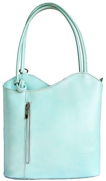 Multi-Way Mint Blue Leather Shoulder Bag/Backpack
