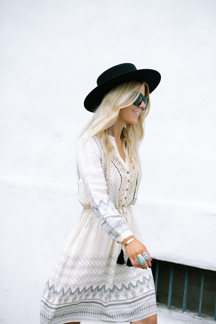 Love this white and black pattern anthropologie dress with studded chloe booties and a black boater hat