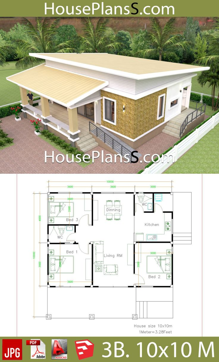 10x10 Bedroom Plans: House Design Plans 10x10 With 3 Bedrooms Full Interior In
