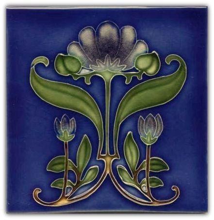 art tile art nouveau flowers dark blue green and gold on blue