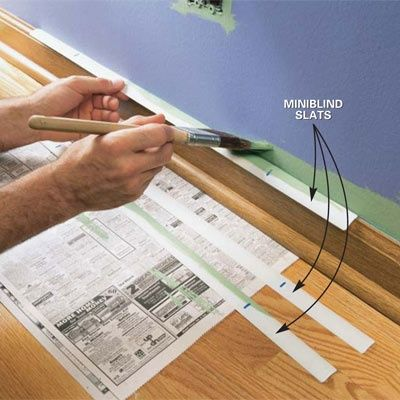 Old mini blinds are a great replacement for painters tape when you are doing quick painting touch ups. Use one slat at a time and switch out for a dry one on each new section.