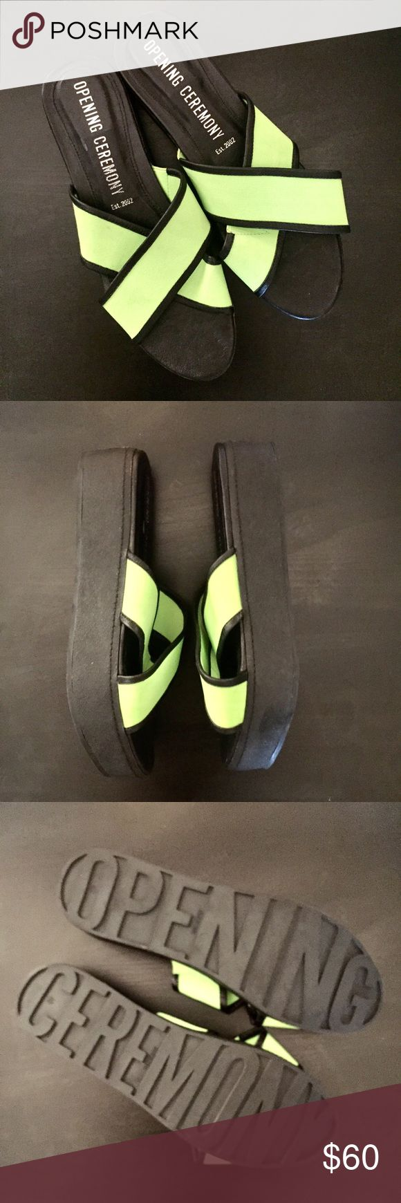 Opening Ceremony Slides Never been worn Opening Ceremony slides! Neon elastic straps that are super comfortable and can stretch to different foot widths! Marked as a EUO 40 but fits like a 9-9 1/2. Opening Ceremony Shoes Sandals