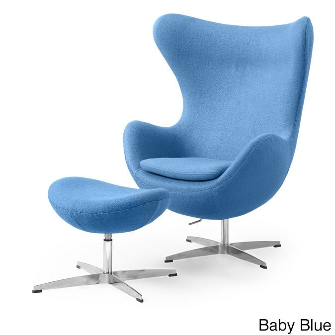 Kardiel Amoeba Cashmere Chair and Ottoman Set (Baby Blue Boucle Cashmere Wool)