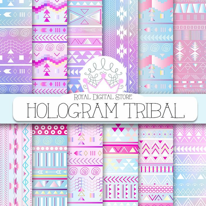 "Tribal digital paper: ""HOLOGRAM TRIBAL"" with tribal, aztec pattern, backgrounds in pink, mint, watercolor for scrapbooking, invitations #tribal #watercolor #digitalpaper #scrapbookpaper #pink #partysupplies #mint #blue"