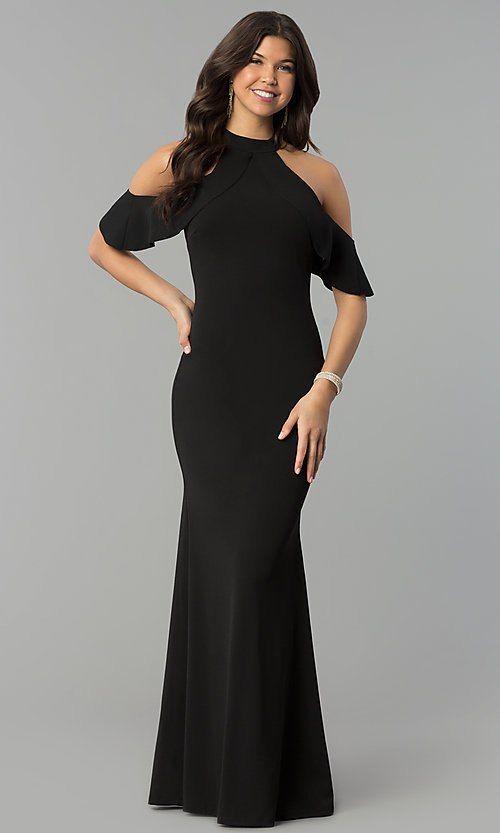 Cold Shoulder Long High Neck Mermaid Formal Dress Evening Gowns