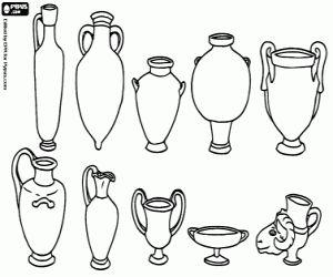 Romeinse keramiek. Amforen, vazen en schalen van het oude Rome kleurplaat