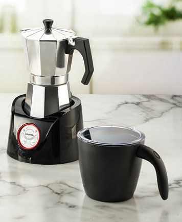 Gourmia GMF255 Moka Magic Espresso Coffee Pot & Milk Frother | macys.com