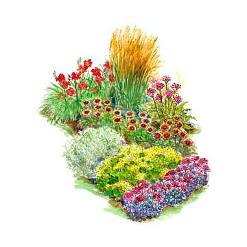 Bold and Bright Flower Garden  Add sizzle to your summer with the bold red, orange, and yellow tones found in this 5-by-6-foot garden. Featuring tough plants such as yarrow, sedum, daylilies, and more, you can count on this border to look good no matter how hot it gets.