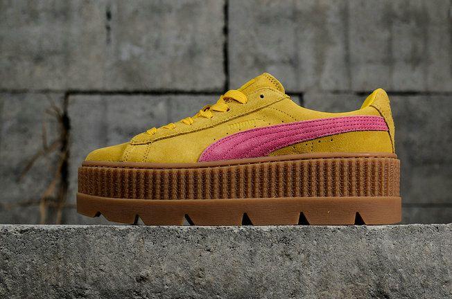 153e695f3374 Latest and Cheapest PUMA Fenty Cleated Creeper 2018 Womens Fashion Shoes  Sneakers 366268-03 Lemon-Carmine Rose