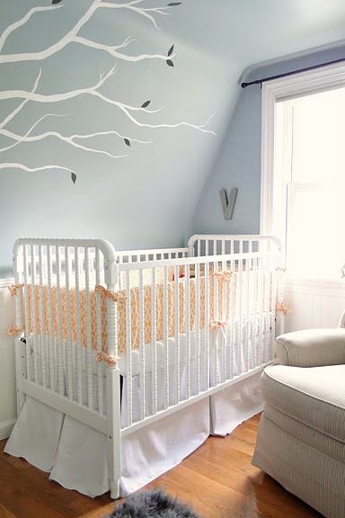 Beautiful nursery designed in a tiny space.:  Cots, Home Tours, Color, Cribs Beds, Violets Nurseries, Baby, Nurseries Design, Nurseries Ideas, Kids Rooms