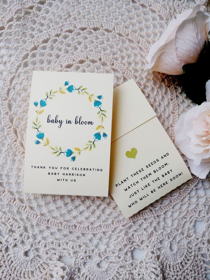 Baby in Bloom, Seed Packets, Baby Shower, BOY, Blue