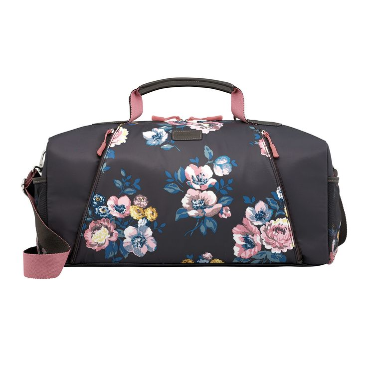 Windflower Bunch Leisure Holdall | Pop your gym kit into this handy holdall. In our Windflower Bunch print, it has two mesh side pockets, an internal zip pocket and a front pocket you can use to store a yoga mat. Adjust the strap and away you go!