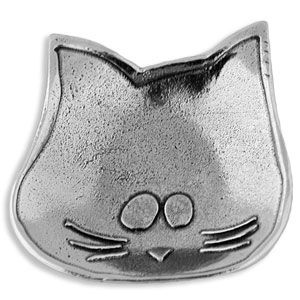 Hand Crafted Pewter Tea Bag Holder in Cat Motif $35