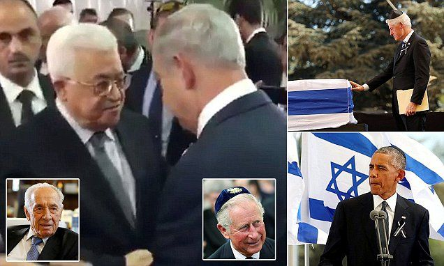 Palestinian President Mahmud Abbas entered Israel for the first time in six years today and shook Benjamin Netanyahu's hand in the defining moment of Shimon Peres' funeral.