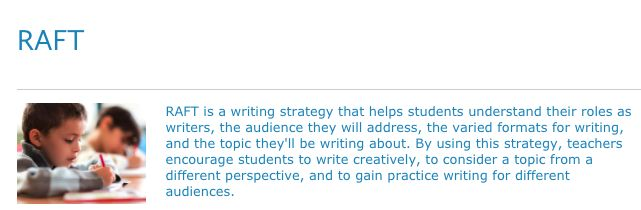 RAFT Strategy  This helps students understand authors and themselves as writers. They must know the Role of the writer, Audience, Format and Topic for writing. This is a good resource from reading rockets as it explains the RAFT strategy well and describes how to help students become more confident and creative writers!